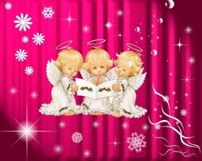 Обои Три ангелочка: Розовые, Ангелы, Разное