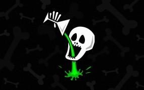 Обои Comic skull: Напиток, Бокал, Череп, Кости, Разное