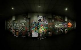 Обои Граффити в переходе: Рисунок, Граффити, переход, Разное