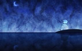 Обои Рыбак поймал луну: Ночь, Луна, рыбак, Разное