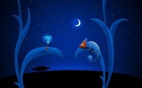 Обои Alien and chameleon: Луна, НЛО, Синий, Хамелеон, инопланетянин, Разное