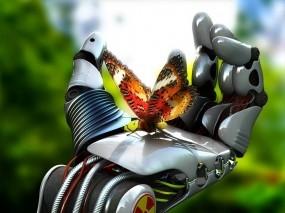 Обои Робот с бабочкой: Рука, Робот, Бабочка, Разное