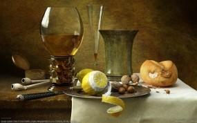 Обои Натюрморт: Лимон, Бокал, Натюрморт, орехи, Разное
