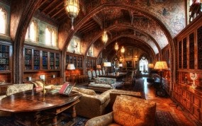 Обои Библиотека: Библиотека, Свечи, Стол, Стулья, Разное
