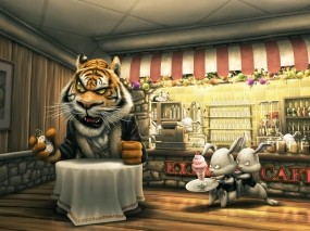 Обои Тигр в кафе: Тигр, Кролики, Кафе, Разное
