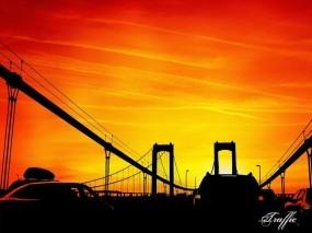 Обои Мост на закате: Мост, Закат, Небо, Разное
