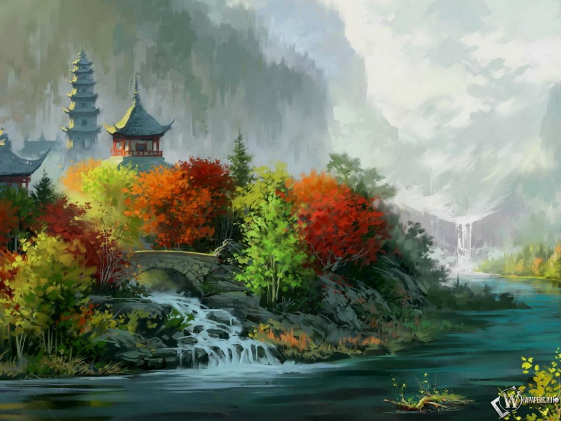 Япония дома речка пейзаж 1152x864