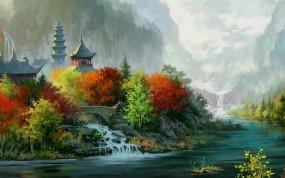 Нарисованный Пейзаж Японии