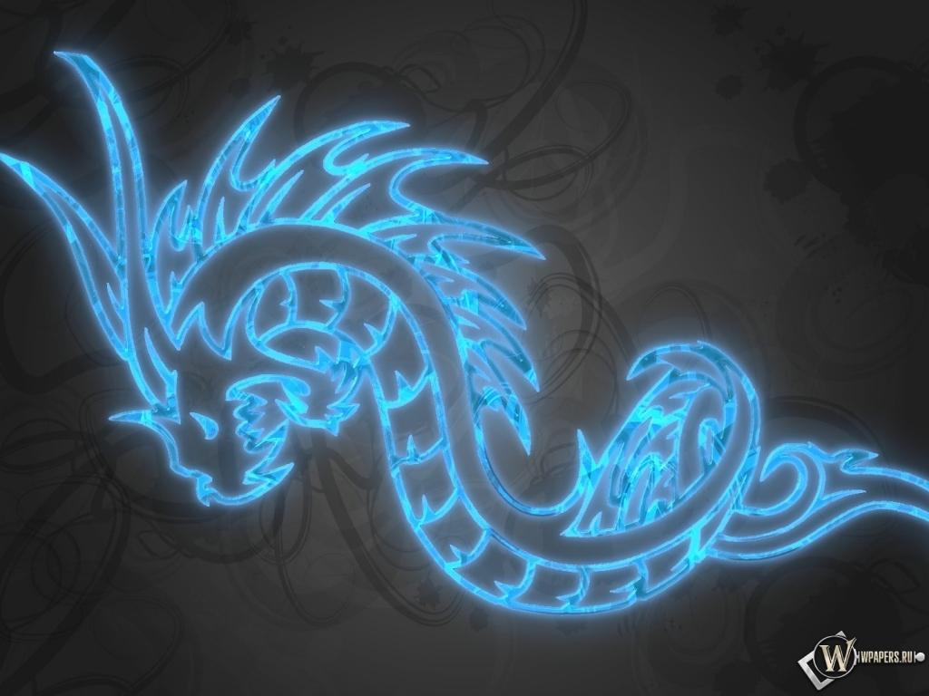 Обои синий дракон дракон 1024x768