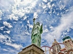 Обои Статуя Свободы: Облака, Небо, Америка, Статуя свободы, США, Прочая архитектура