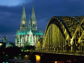 Обои Cologne Cathedral Hohenzollern Bridge Germany: Мост, Германия, Собор, Прочая архитектура