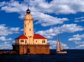 Обои Маяк в Чикаго: Яхта, Маяк, Чикаго, Прочая архитектура