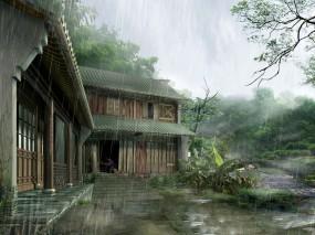 Обои Японский Дом: Дождь, Дом, Япония, Сарай, Прочая архитектура