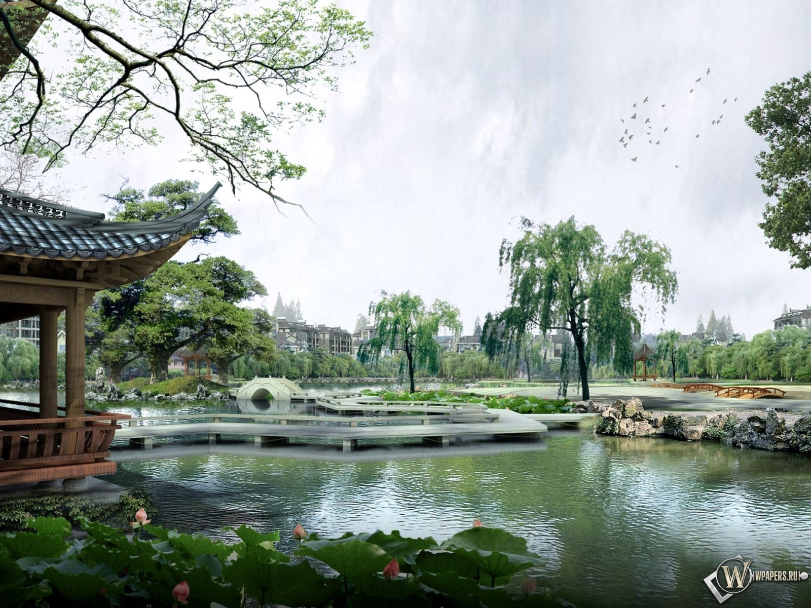 Парк япония ландшафт 1600x1200 картинки
