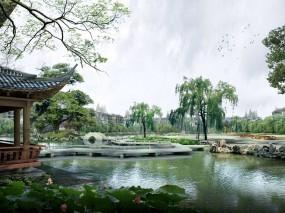 Обои Японский Парк: Пруд, Парк, Япония, Ландшафт, Прочая архитектура