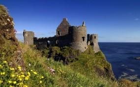 Обои Замок на берегу моря: Природа, Океан, Замок, Цветы, Замки