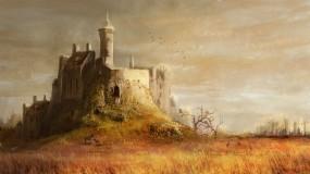 Обои Средневековый замок: Башни, Деревья, Замок, холм, Замки