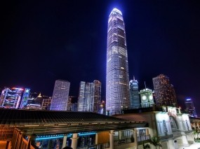Обои Небоскреб ночью: Ночь, Гонконг, Небоскрёб, Небоскрёбы
