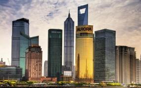 Обои Небокребы Шанхая: Облака, Небоскрёбы, Небо, Шанхай, Китай, Небоскрёбы