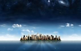 Обои Остров - Мегаполис: Вода, Озеро, Мегаполис, Будущее, Небоскрёбы