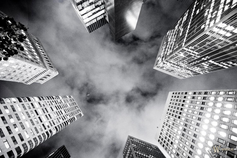 Черно белые небоскребы 1500x1000