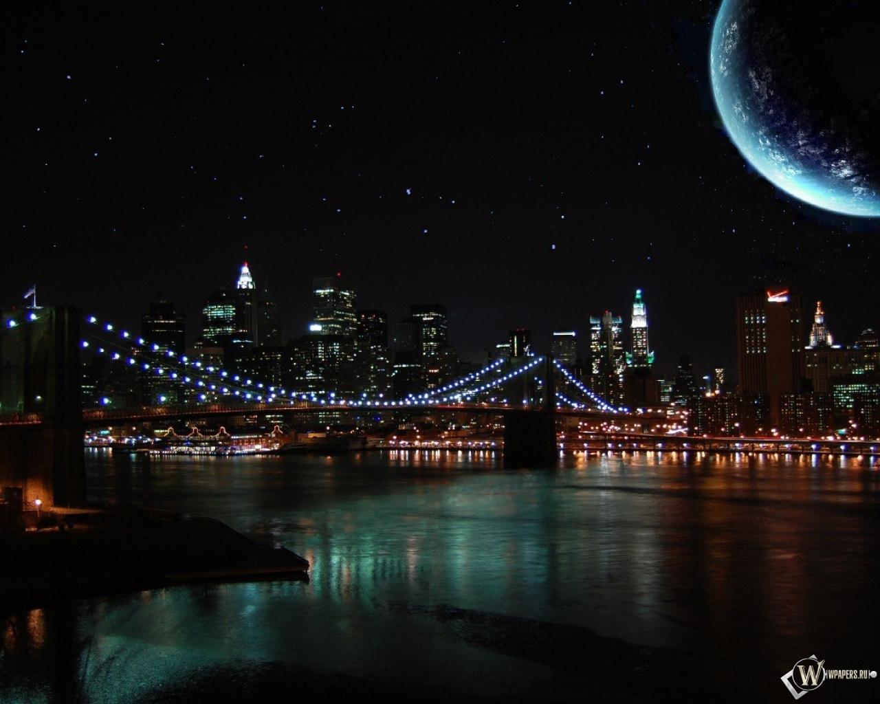 Город ночь небо  № 3705638 бесплатно
