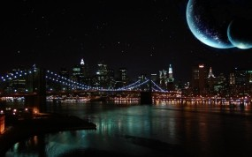 Обои Ночной город: Река, Мост, Ночь, Луна, Небо, Города и вода