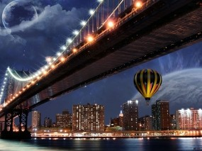 Обои Ночной город: Город, Мост, Ночь, Города и вода