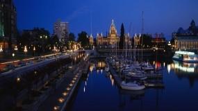 Обои Панорама ночного города: Вечер, Панорама, Яхты, Города