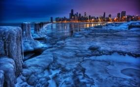 Обои Зимний вечерний город: Зима, Лёд, Город, Пейзаж, Вид, Города