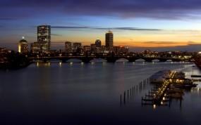 Обои Город на закате: Мост, Причал, Вечер, Дом, Города