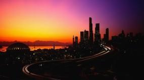 Обои Город на закате: Огни, Город, Закат, Вечер, Города