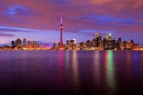 Обои Торонто Канада: Огни, Вода, Ночь, Торонто, Канада, Башня, Города