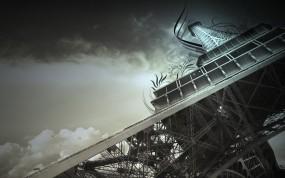 Обои Эйфелева башня: Франция, Небо, Париж, Эйфелева башня, Обработка, Города