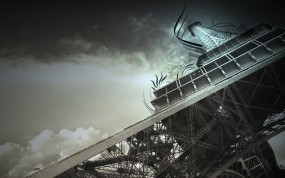 Обои Эйфелева башня: Франция, Небо, Париж, Эйфелева башня, Обработка, Париж