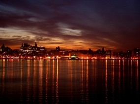 Обои Ночной город: Огни, Фонари, Отражение, Город, Города и вода