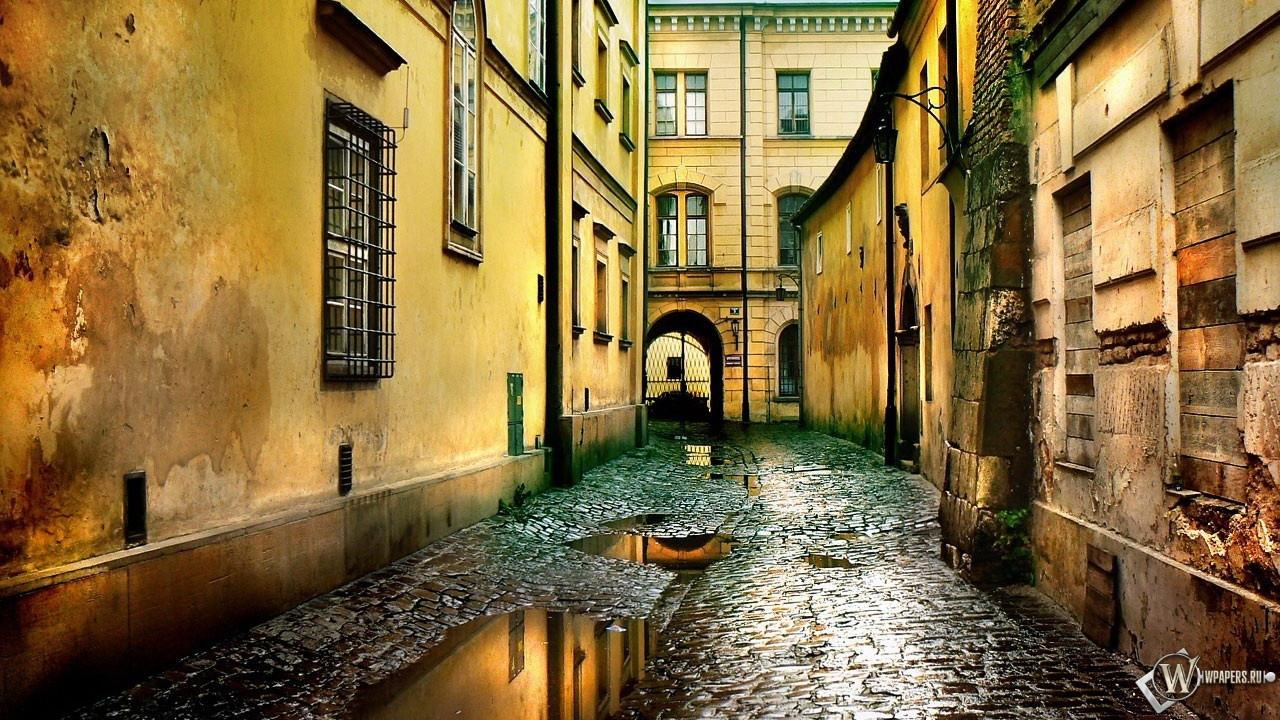 Обои улица после дождя город улица
