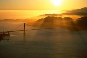 Обои Мост Золотые ворота в Сан-Франциско: Вода, Мост, Вечер, Города