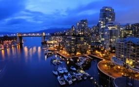 Обои Ванкувер Канада: Ночь, Океан, Канада, Города, Города