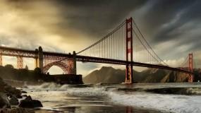 Обои Мост Золотые ворота Сан-Франциско: Облака, Мост, Сан-Франциско, Залив, Города