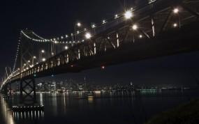 Обои Мост зимней ночью: Зима, Город, Мост, Ночь, Города
