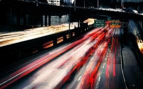 Обои Скоростная дорога: Огни, Скорость, Мост, Автострада, Города