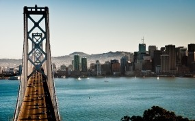 Обои The Bay Bridge Сан-Франциско Калифорния: Мост, Сан-Франциско, Калифорния, Города
