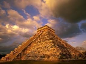 Обои Чичен-Ица: Облака, Майя, Пирамида, Города