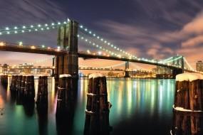 Обои Бруклинский мост ночью: Огни, Мост, Ночь, манхэттен, Города