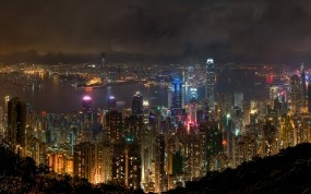 Обои Ночной Гонконг: Река, Неон, Ночь, Небоскрёбы, Гонконг, Города