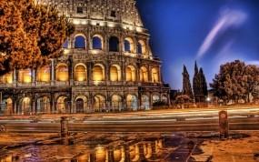 Обои Вечерний Колизей: Дорога, Город, Вечер, Колизей, Города