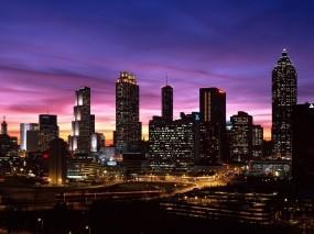Обои Ночной город: Огни, Город, Ночь, Небоскрёбы, Города и вода