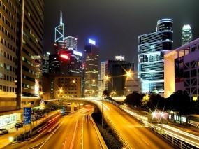 Обои Ночной Гонконг: Огни, Дорога, Ночь, Небоскрёбы, Гонконг, Города