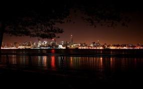 Обои Ночная набережная: Река, Город, Ночь, Набережная, Города